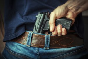Concealed carry weapon hidden in belt